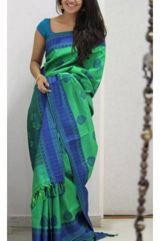 "Divine Green Color Soft Silk Designer Sarees - SB1120  30"""