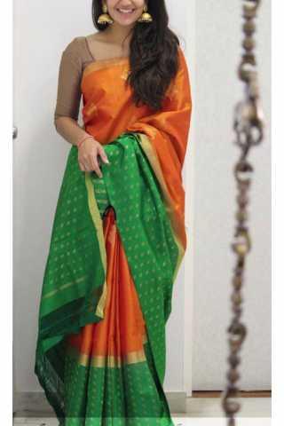 "Elegance Orange Color Soft Silk Designer Sarees - SB1130  30"""