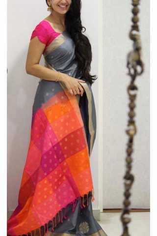 "Evergreen  Grey  Color Soft Silk Designer Sarees - SB1131  30"""