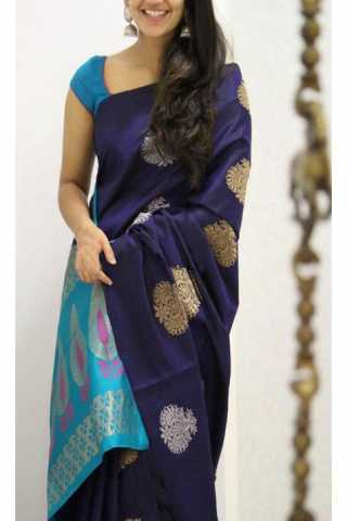 """Divine Blue Color Soft Silk Designer Sarees - SB1138  30"""""""