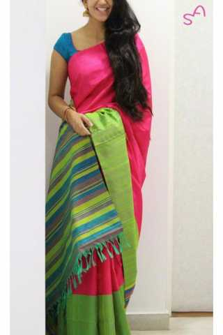 Unique Pink Color Soft Silk Saree - SB1160  30""