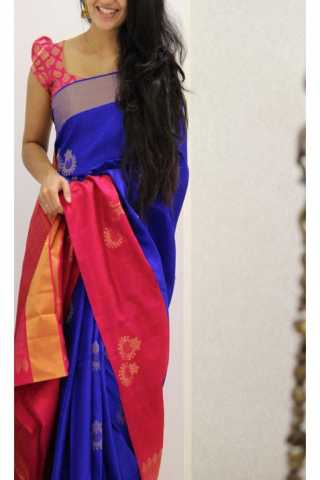 Unique Blue Color Soft Silk Saree - SB1164  30""