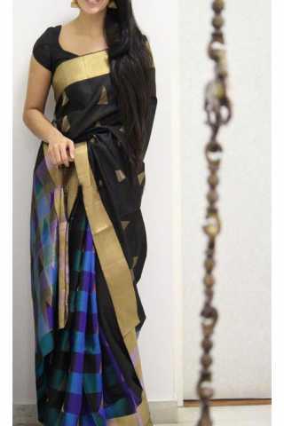 "Unique Black Color Soft Silk Saree - SB1165  30"""