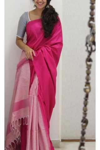 "Unique Pink Color Soft Silk Saree - SB1166  30"""