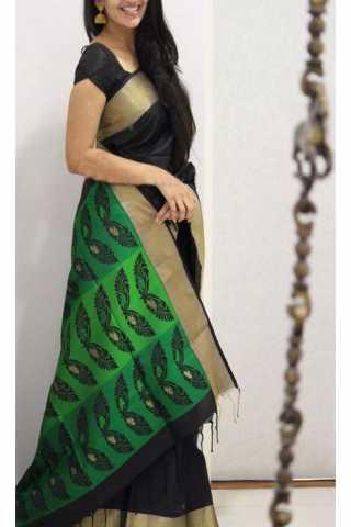 """Unique Black N Green Color Soft Silk Saree - SB1171  30"""""""