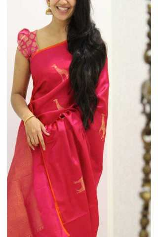 "Unique Pink Color Soft Silk Saree - SB1172  30"""