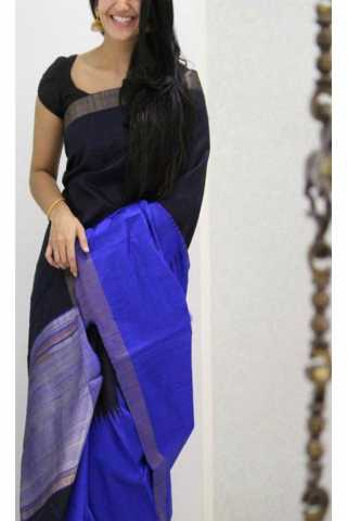 "Unique Black N Blue Color Soft Silk Saree - SB1176  30"""