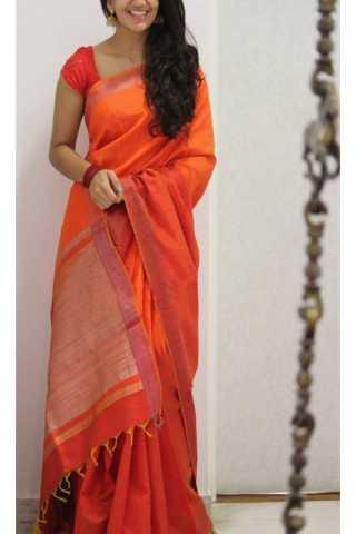 "Royal Orange Color Soft Silk Saree - SB1177  30"""