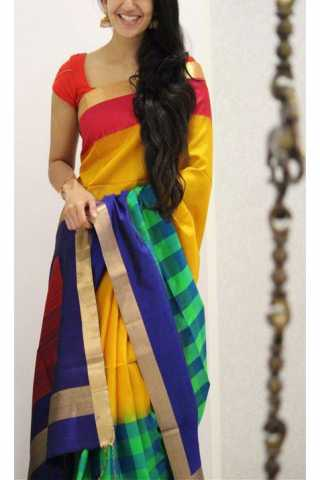Royal Multi Color Soft Silk Saree - SB1190  30""