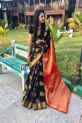 Unique Black Color Soft Silk Designer Sarees - SB401  30""