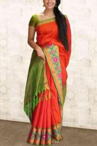 "Attractive Orange Soft Silk Saree - SB585  30"""