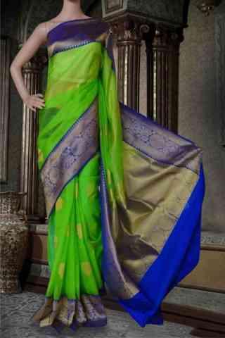 """Glorious Green Soft Silk Saree - SB587  30"""""""