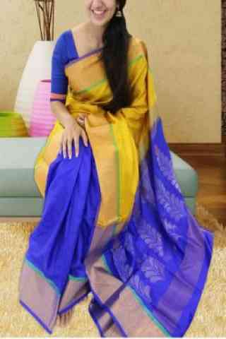 """Forever Yellow N Blue Color Soft Silk Saree - SB589  30"""""""