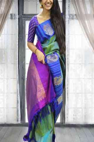 "Vivacious Multi Color Soft Silk Saree - SB593  30"""