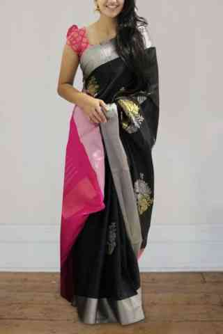 Modern Black Color Soft Silk Saree - SB595  30""