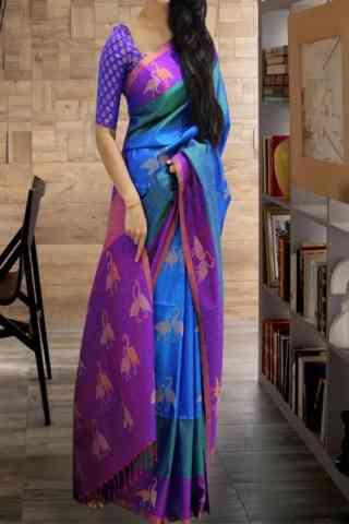"Evergreen Multi Color Soft Silk Saree - SB597  30"""
