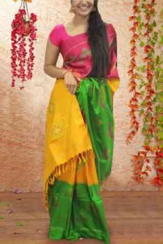 "Ethnic Multi Color Pattern Soft Silk Saree - SB607  30"""