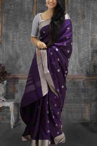 "Glammrous Violet Color Pattern Soft Silk Saree - SB619  30"""