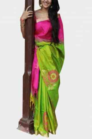 Mind Blowing Pink n Green Color Soft Silk Designer Sarees - SB623  30""