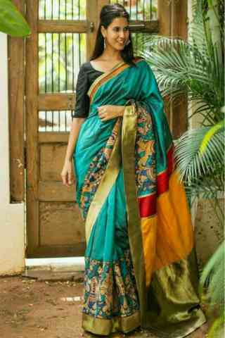 "Beautiful Sea Green Color Soft Silk Designer Sarees-SB632  30"""