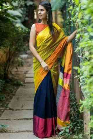 "Eye Catching Yellow Color Soft Silk Designer Sarees-SB635  30"""