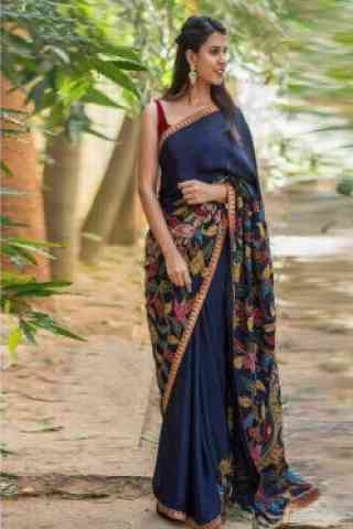 Divine Blue Color Soft Silk Designer Sarees-SB639  30""