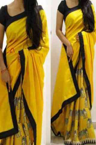 "Heavy  Yellow Color Soft Silk Designer Sarees-SB642  30"""