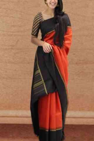 "Fashionable Orange Color Soft Silk Designer Sarees-SB644  30"""