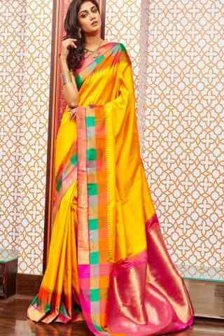 Fashionable Yellow Color Soft Silk Designer Sarees - SB658  30""