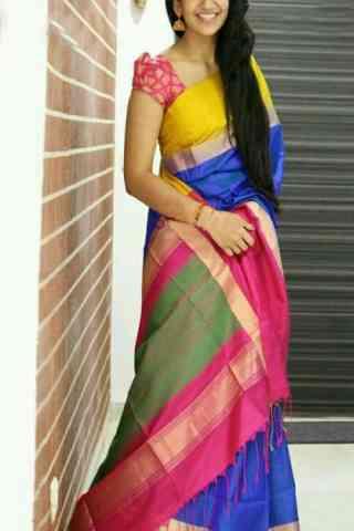 "Innovative Multi Color Soft Silk Designer Sarees - SB663  30"""