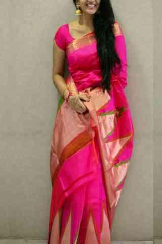 "Fashionable Pink Color Soft Silk Designer Sarees - SB664  30"""