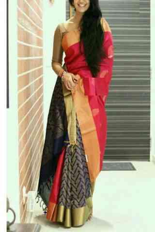 "Stylish Multi Color Soft Silk Designer Sarees - SB668  30"""