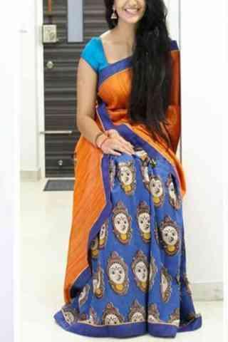"""Alluring Orange n Blue Color Soft Silk Designer Sarees - SB674  30"""""""
