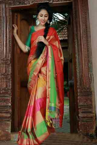 "Mind Blowing Multi Color Soft Silk Designer Sarees - SB676  30"""