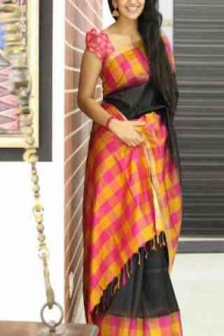 "Eye Catching Black Color Soft Silk Designer Sarees - SB677  30"""