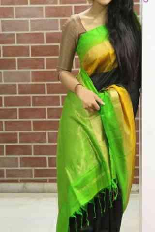 "Beautiful Black n Green  Color Soft Silk Designer Sarees - SB679  30"""
