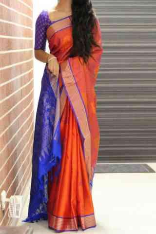 """Adorning Orange Color Soft Silk Designer Sarees - SB683  30"""""""