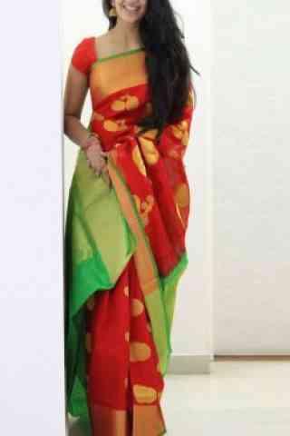 """Sensational Red Soft Silk Designer Sarees-SB691  30"""""""