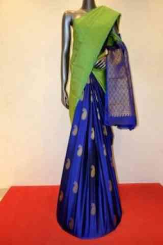 "Flawless Green n BlueSoft Silk Designer Sarees-SB692  30"""