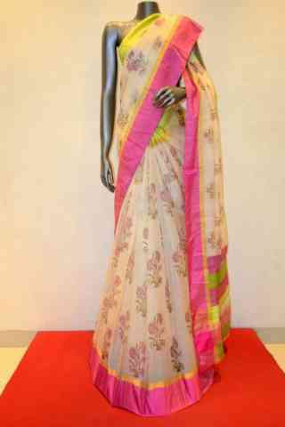 Beautiful Cream Soft Silk Designer Sarees - SB694  30""
