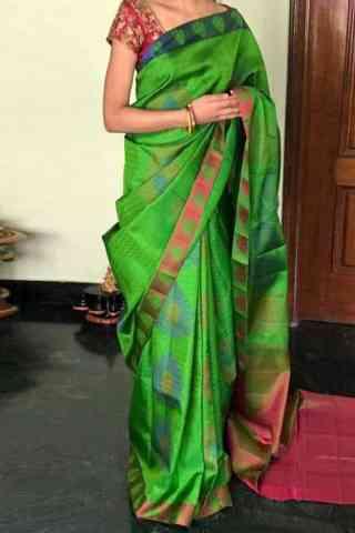"Dynammic Green Color Soft Silk Designer Sarees - SB716  30"""
