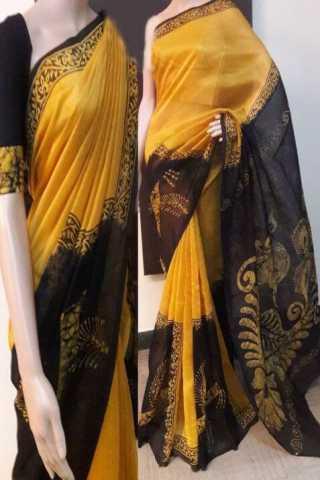 """Pretty  Yellow Color Soft Silk Designer Sarees - SB725  30"""""""