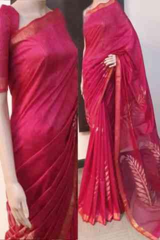 "Delightful Pink Color Soft Silk Saree - SB728  30"""