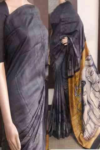"""Delightful Grey Color Soft Silk Saree - SB732  30"""""""