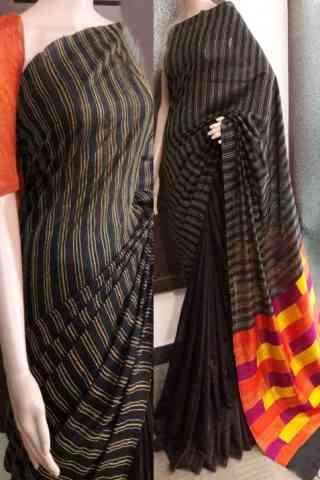 "Eye Catching Black Color Soft Silk Saree - SB735  30"""