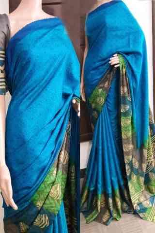"Mind Blowing Blue Color Soft Silk Saree - SB736  30"""