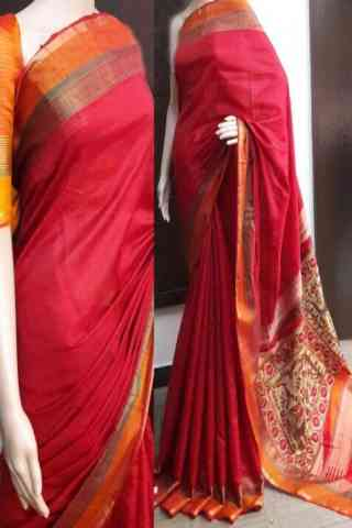 Artistic Red Color Soft Silk Saree - SB739  30""