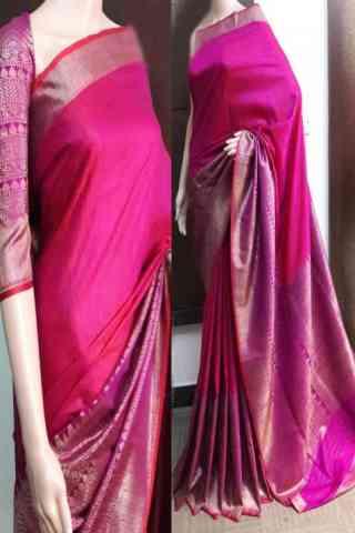 """Dynammic Pink Color Soft Silk Saree - SB745  30"""""""