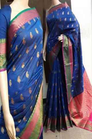 "Glammrous Blue Color Soft Silk Saree - SB746  30"""