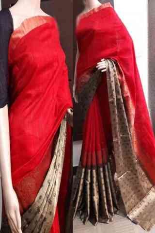 "Glorious Red Color Soft Silk Saree - SB747  30"""